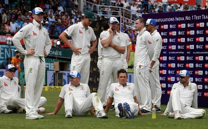 Cricket - India v Australia - Fourth Test cricket match - Himachal Pradesh Cricket Association Stadium, Dharamsala, India - 28/03/17 - Australian players attend the award ceremony after losing the series. REUTERS/Adnan Abidi