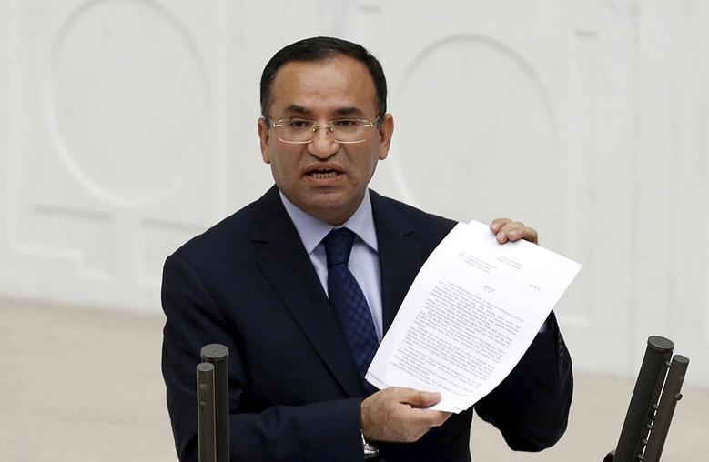 FILE PHOTO: Justice Minister Bekir Bozdag addresses the Turkish Parliament during a debate in Ankara in this March 19, 2014. REUTERS/Umit Bektas/File