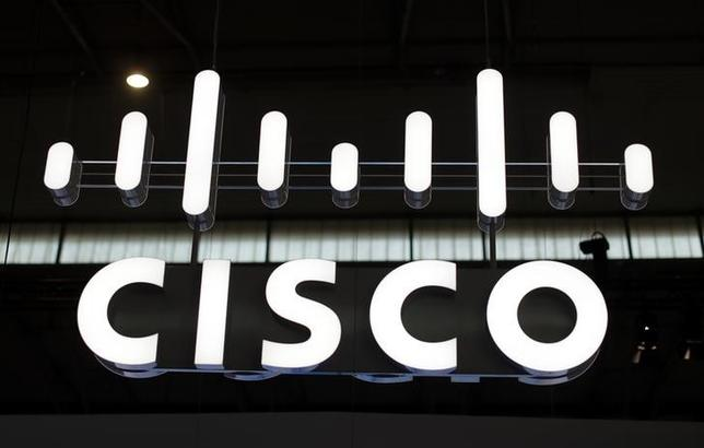 The logo of Cisco is seen at Mobile World Congress in Barcelona. REUTERS/Eric Gaillard