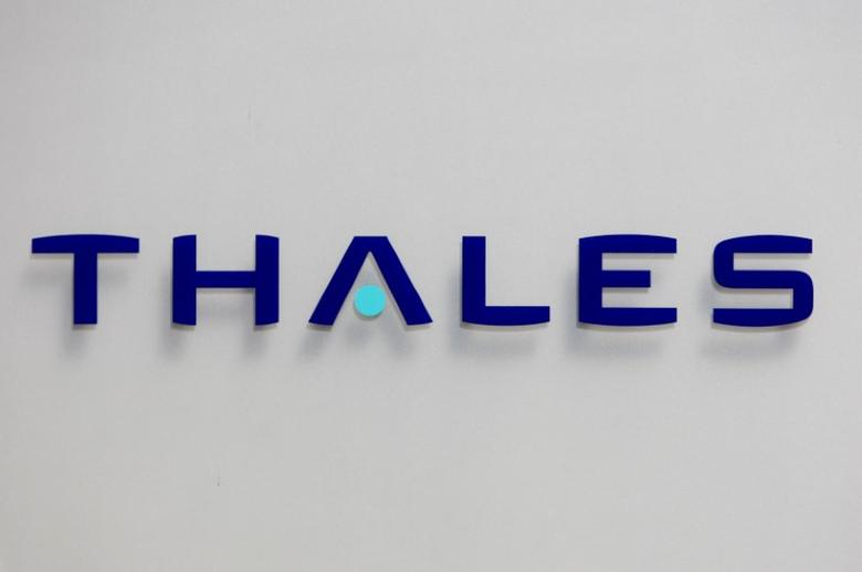 The logo of French defence and electronics group Thales is seen at the company's headquarters in Neuilly, near Paris,  May 20, 2008.   REUTERS/Charles Platiau/File Photo