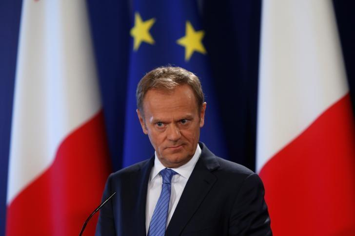 President of the European Council Donald Tusk takes part in a joint news conference about Brexit with Malta's Prime Minister Joseph Muscat in Valletta, Malta, March 31, 2017.  REUTERS/Darrin Zammit Lupi