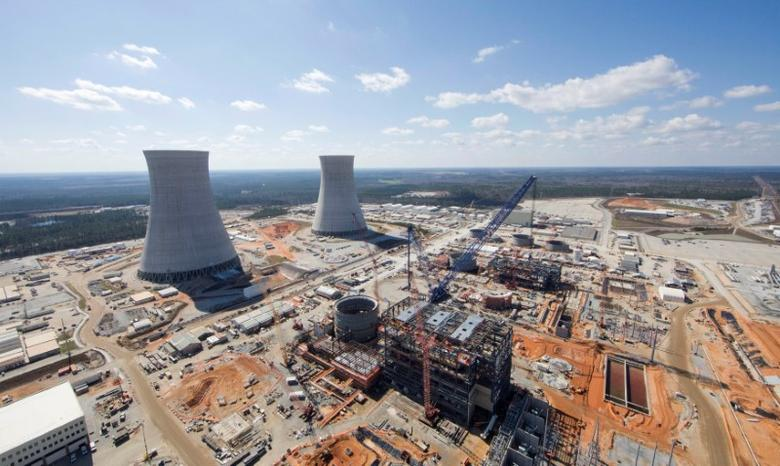 The Vogtle Unit 3 and 4 site, being constructed by primary contactor Westinghouse, a business unit of Toshiba, near Waynesboro, Georgia, U.S. is seen in an aerial photo taken February 2017.  Georgia Power/Handout via REUTERS/File Photo