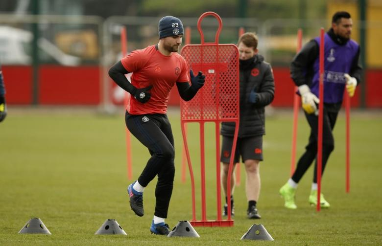 Britain Football Soccer - Manchester United Training - Manchester United Training Ground - 21/2/17 Manchester United's Luke Shaw during training Reuters / Andrew Yates Livepic