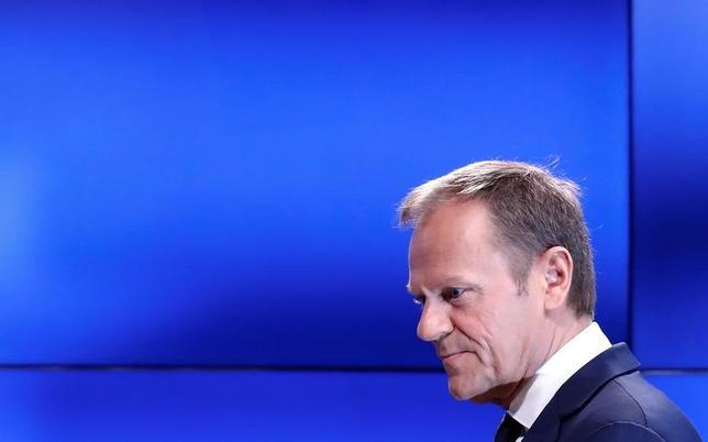 4月5日、欧州連合(EU)のトゥスク大統領(写真)は、ギリシャ支援策をめぐる国際債権団との合意は近いとの見通しを示した。3月撮影(2017年 ロイター/Yves Herman)