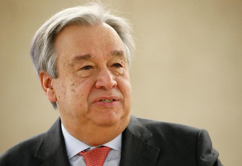 U.N. Secretary general Antonio Guterres attends the 34th session of the Human Rights Council at the European headquarters of the United Nations in Geneva, Switzerland, February 27, 2017. REUTERS/Denis Balibouse