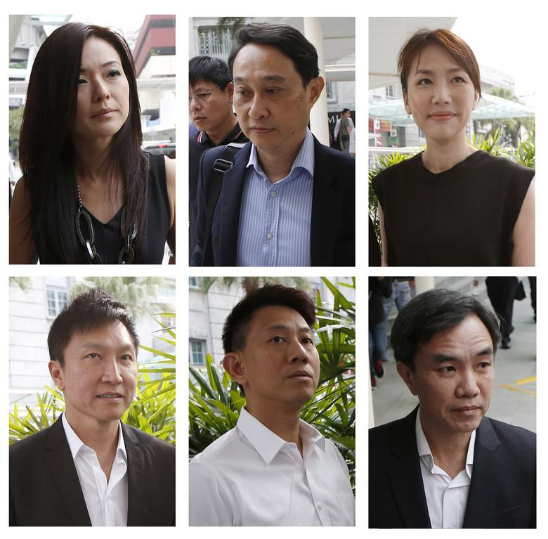 FILE PHOTO: A combination photo shows City Harvest Church's members (top L-R to bottom L-R), former finance manager Serina Wee, former fund manager Chew Eng Han, former finance manager Sharon Tan, founder Kong Hee, deputy senior pastor Tan Ye Peng and former treasurer John Lam arriving at the State Courts in Singapore October 21, 2015, where a verdict is expected to be delivered for their trial of misappropriating S$50 million ($42.5 million)  of church funds and falsifying the church's accounts. REUTERS/Edgar Su/File Photo