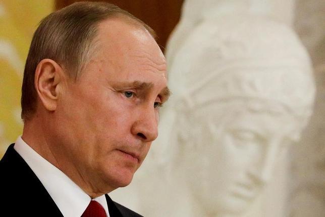 4月12日、ロシアのプーチン大統領は、トランプ政権下で米国との信頼関係が悪化したとの考えを示した。写真はサンクトペテルブルクで3日代表撮影(2017年 ロイター)
