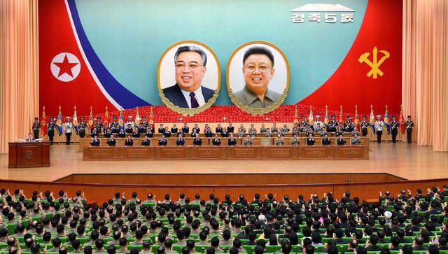 A general view of a national meeting took place to celebrate the 5th anniversary of leader Kim Jong Un's assumption of the top posts of the party and the state, in this undated photo released by North Korea's Korean Central News Agency (KCNA) in Pyongyang April 12, 2017. KCNA via REUTERS
