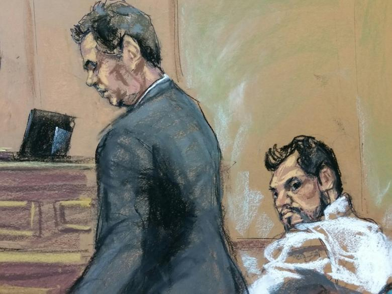 Mehmet Hakan Atilla (R), a deputy general manager of Halkbank, is shown in this court room sketch with his attorney Gerald J. DiChiara as he appears in Manhattan federal court in New York, U.S., March 28, 2017. REUTERS/Jane Rosenberg/Files