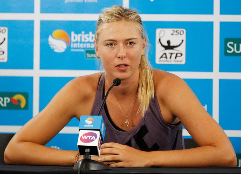 Maria Sharapova of Russia speaks during a news conference at the Brisbane International tennis tournament in Brisbane, Australia January 1, 2013. REUTERS/Daniel Munoz/File Photo - RTSEZGK