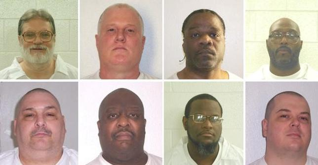 Inmates Bruce Ward(top row L to R), Don Davis, Ledell Lee, Stacy Johnson, Jack Jones (bottom row L to R), Marcel Williams, Kenneth Williams and Jason Mcgehee are shown in these booking photo provided March 21, 2017. The eight are scheduled to be executed by lethal injection in Arkansas, beginning April 17, 2017. Courtesy Arkansas Department of Corrections/Handout via REUTERS