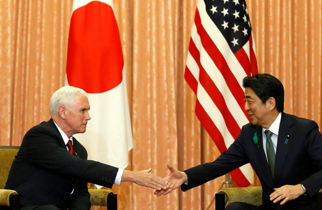 U.S. Vice President Mike Pence meets with Japan's Prime Minister Shinzo Abe in Tokyo. REUTERS/Kim Kyung-Hoon