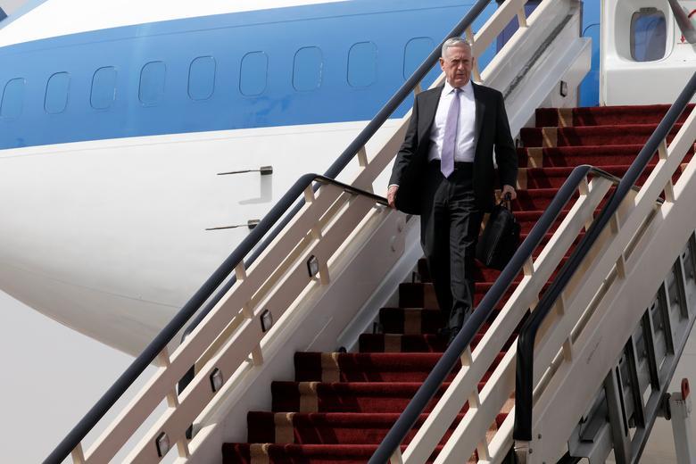 U.S. Defense Secretary James Mattis arrives at the start of a week-long Middle East visit at King Salman Air Base, Riyadh, Saudi Arabia April 18, 2017. REUTERS/Jonathan Ernst