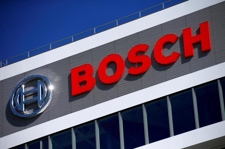 FILE PHOTO - A company logo on BOSCH building is pictured at the company's new research and advance development centre Campus Renningen during a guided media tour in Renningen, Germany, September 30, 2015.    REUTERS/Ralph Orlowski/File Photo