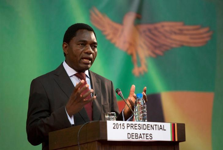 Presidential candidate for the United Party for National Development (UPND) Hakainde Hichilema speaks during a live television debate in Lusaka, Zambia January 15, 2015.  REUTERS/Rogan Ward/Files