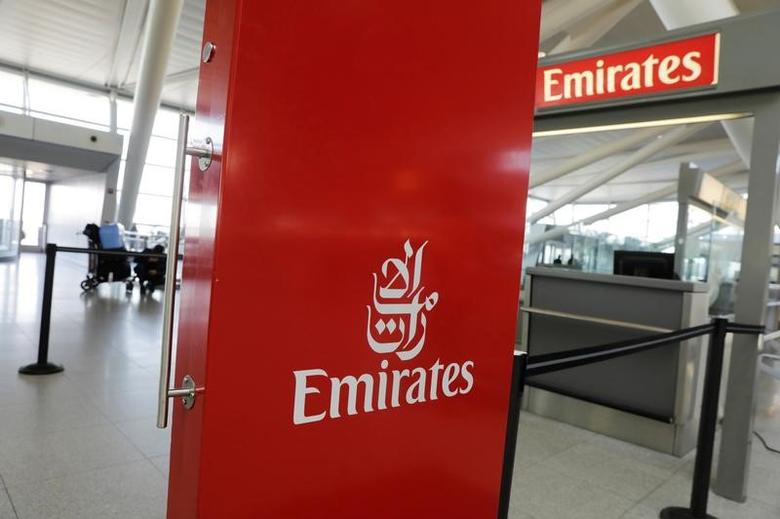 An Emirates Airlines ticket desk stands empty at JFK International Airport in New York, U.S., March 21, 2017.  REUTERS/Lucas Jackson