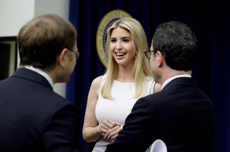Ivanka Trump attends a CEO town hall on the American business climate at the Eisenhower Executive Office Building in Washington, U.S., April 4, 2017. REUTERS/Kevin Lamarque