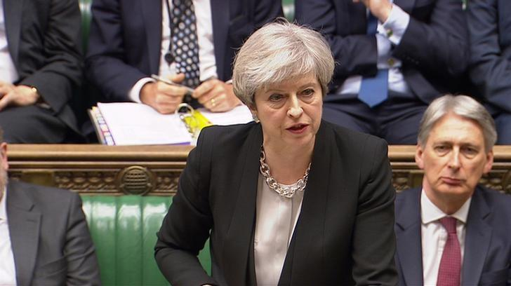 A still image from a video footage shows Britain's Prime Minister Theresa May addressing the House of Commons in central London April 19, 2017. May on Wednesday asked parliament to back her call for an early national election, saying the result would help unify parliament behind her Brexit plan and prevent instability. Parbul TV/Handout via Reuters TV  ATTENTION EDITORS - THIS IMAGE WAS PROVIDED BY A THIRD PARTY. EDITORIAL USE ONLY