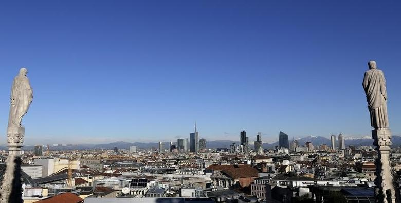 FILE PHOTO: Milan's business district skyline is seen from Duomo's Cathedral downtown Milan, Italy , January 13, 2016. REUTERS/Stefano Rellandini