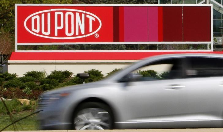 A view of the Dupont logo on a sign at the Dupont  Chestnut Run Plaza  facility near Wilmington, Delaware, April 17, 2012.  REUTERS/Tim Shaffer/Files