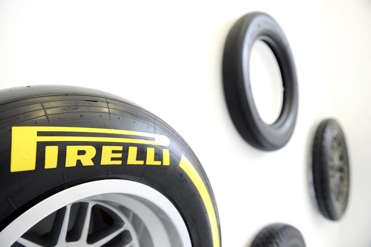 A Pirelli's tyre is pictured at the headquater in Milan, March 26, 2015. REUTERS/Giorgio Perottino/Files