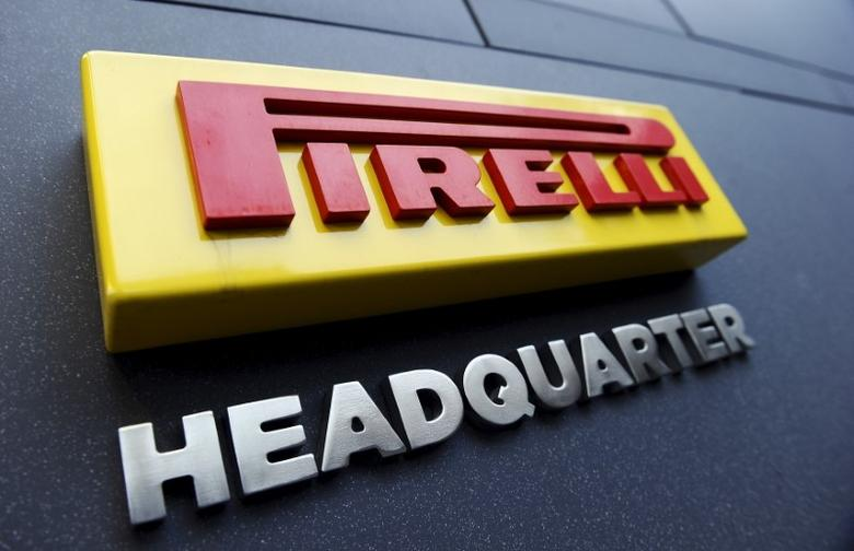 A Pirelli's logo is pictured at its headquaters in Milan, March 26, 2015. REUTERS/Giorgio Perottino