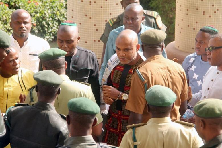 Nnamdi Kanu, leader of Indigenous People of Biafra is seen in a physical confrontation with prison warders, at the Federal High Court in Abuja, Nigeria January 10, 2017.  REUTERS/Stringer
