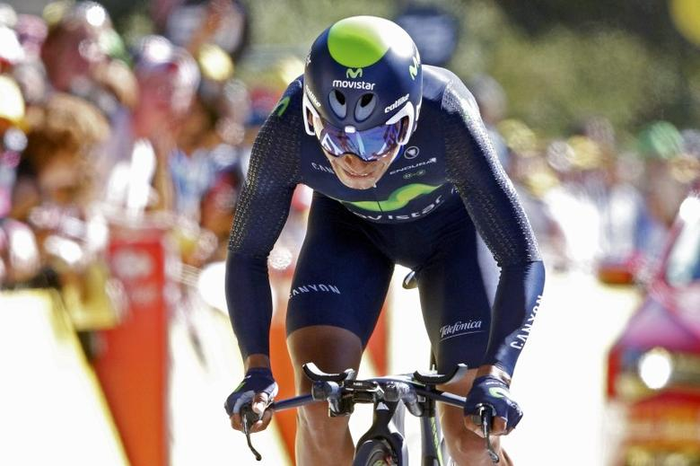 FILE PHOTO: Cycling - Tour de France cycling race - The 37.5 km (23.3 miles) Stage 13 from Bourg-Saint-Andeol to La Caverne du Pont-d'Arc, France - 15/07/2016 - Movistar Team rider Nairo Quintana of Colombia rides on the finish line of the individual time trial.   REUTERS/Juan Medina   Picture Supplied by Action Images