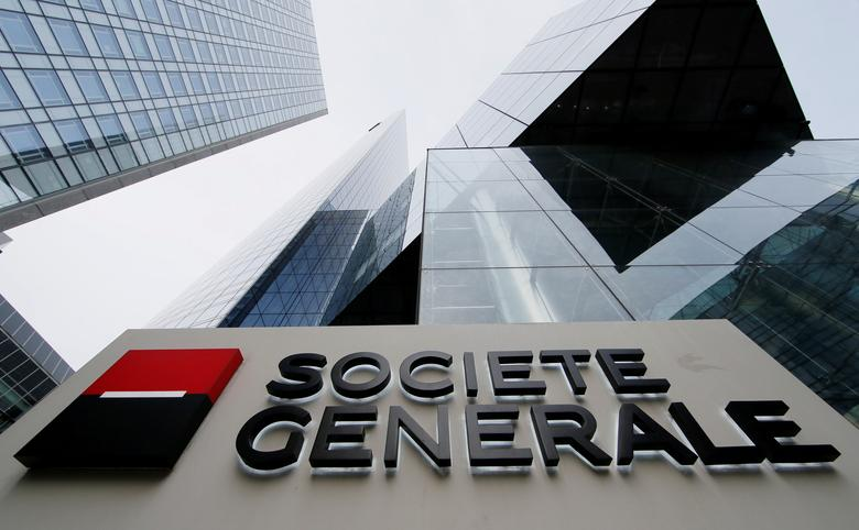 FILE PHOTO: The logo of the French bank Societe Generale is seen in front of the bank's headquarters building at La Defense business and financial district in Courbevoie near Paris, France, April 21, 2016. REUTERS/Gonzalo Fuentes/File Photo