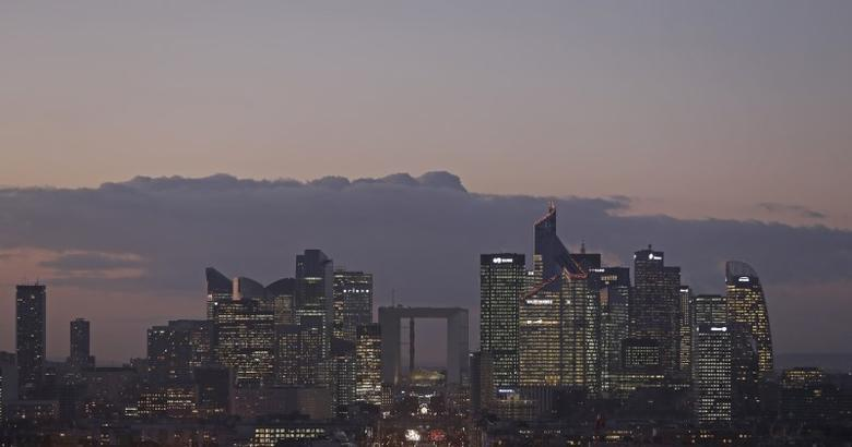 FILE PHOTO: The financial district of La Defense is seen at dusk near Paris, France, January 5, 2017. REUTERS/Christian Hartmann
