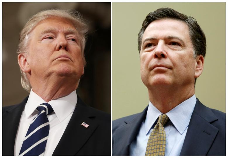 FILE PHOTO: A combination photo shows U.S. President Donald Trump (L) in the House of Representatives in Washington, U.S., on February 28, 2017 and FBI Director James Comey in Washington U.S. on July 7, 2016.   REUTERS/Jim Lo Scalzo/Pool, Gary Cameron/File Photo
