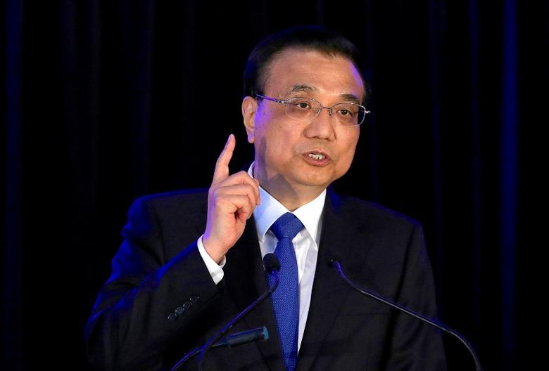 FILE PHOTO: Chinese Premier Li Keqiang speaks during a media conference with New Zealand's Prime Minister Bill English in Wellington, New Zealand, March 27, 2017.      REUTERS/Anthony Phelps