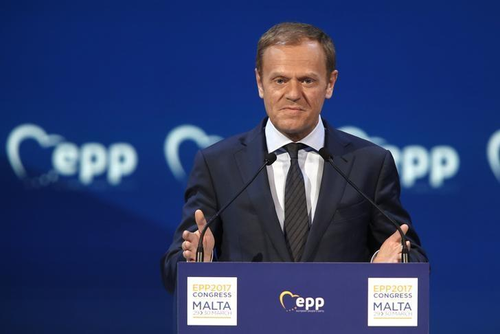 European Council President Donald Tusk takes part in a European People Party (EPP) summit in St Julian's, Malta, March 30, 2017. REUTERS/Darrin Zammit Lupi/Files