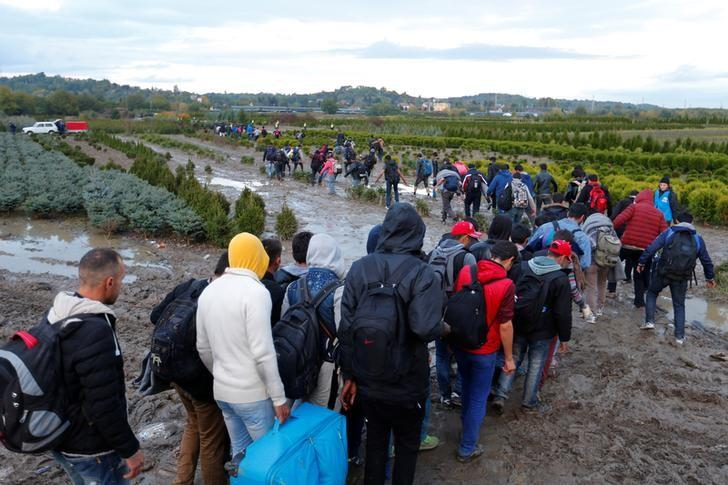 FILE PHOTO: Migrants make their way after crossing the border at Zakany, Hungary October 16, 2015. REUTERS/Laszlo Balogh/File Photo