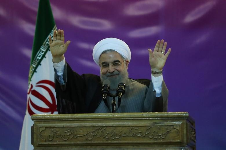 Iran's President Hassan Rouhani gestures during a ceremony celebrating International Workers' Day, in Tehran, Iran, May 1, 2017.   President.ir/Handout via REUTERS