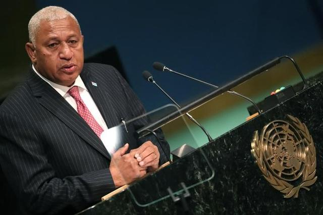 Prime Minister Frank Bainimarama of Fiji speaks at the conclusion of a ''High-Level Event on Entry into Force of the Paris Agreement on Climate Change'' meeting at United Nations headquarters in the Manhattan borough of New York, U.S., September 21, 2016.  REUTERS/Carlo Allegri
