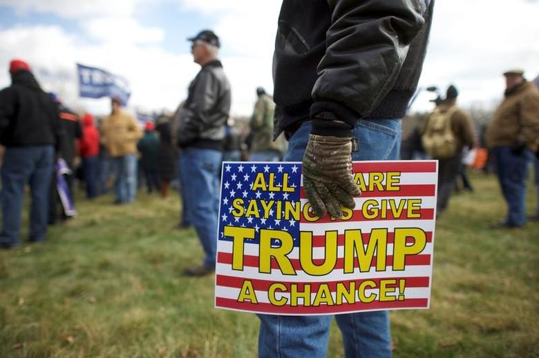FILE PHOTO: Supporters of President Donald Trump gather for a ''People 4 Trump'' rally at Neshaminy State Park in Bensalem, Pennsylvania, U.S. March 4, 2017.  REUTERS/Mark Makela