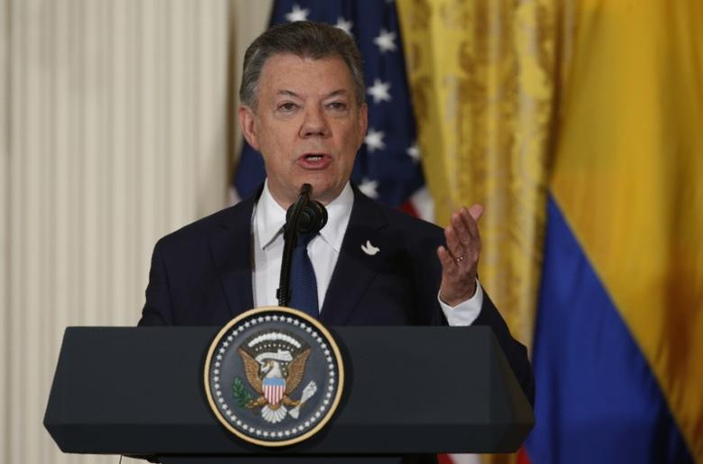 Colombia's President Juan Manuel Santos speaks during a joint news conference with U.S. President Donald Trump (not pictured) at the White House in Washington, U.S. May 18, 2017. REUTERS/Kevin Lamarque