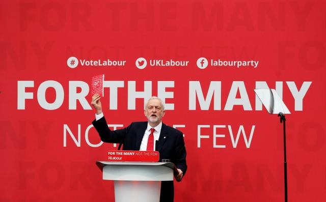 FILE PHOTO: Jeremy Corbyn, the leader of Britain's opposition Labour Party, launches the party's election manifesto at Bradford University, May 16, 2017. REUTERS/Darren Staples/File Photo