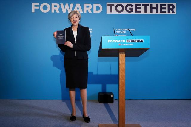 Britain's Prime Minister Theresa May's launches her election manifesto in Halifax, May 18, 2017. REUTERS/Dan Kitwood/Pool