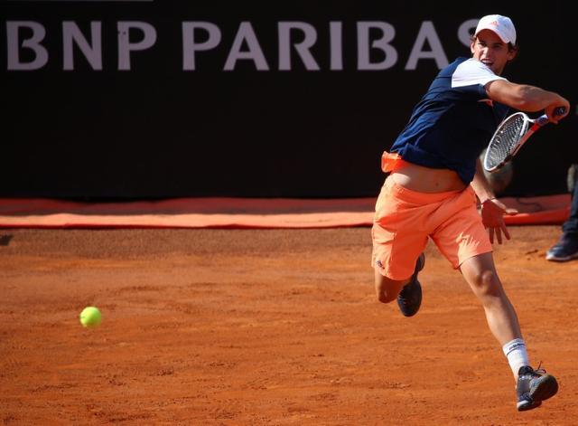 Tennis - ATP - Rome Open - Dominic Thiem of Austria v Rafael Nadal of Spain - Rome, Italy - 19/5/17 - Thiem returns the ball. REUTERS/Alessandro Bianchi