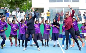 Sania Mirza holds tennis clinic