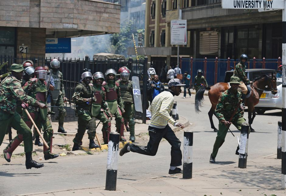 Image result for Kenyan police use tear gas, batons to disperse opposition protest