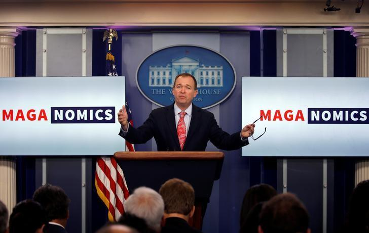 Office of Management and Budget Director Mick Mulvaney speaks at a White House briefing. July 20, 2017. Carlos Barria