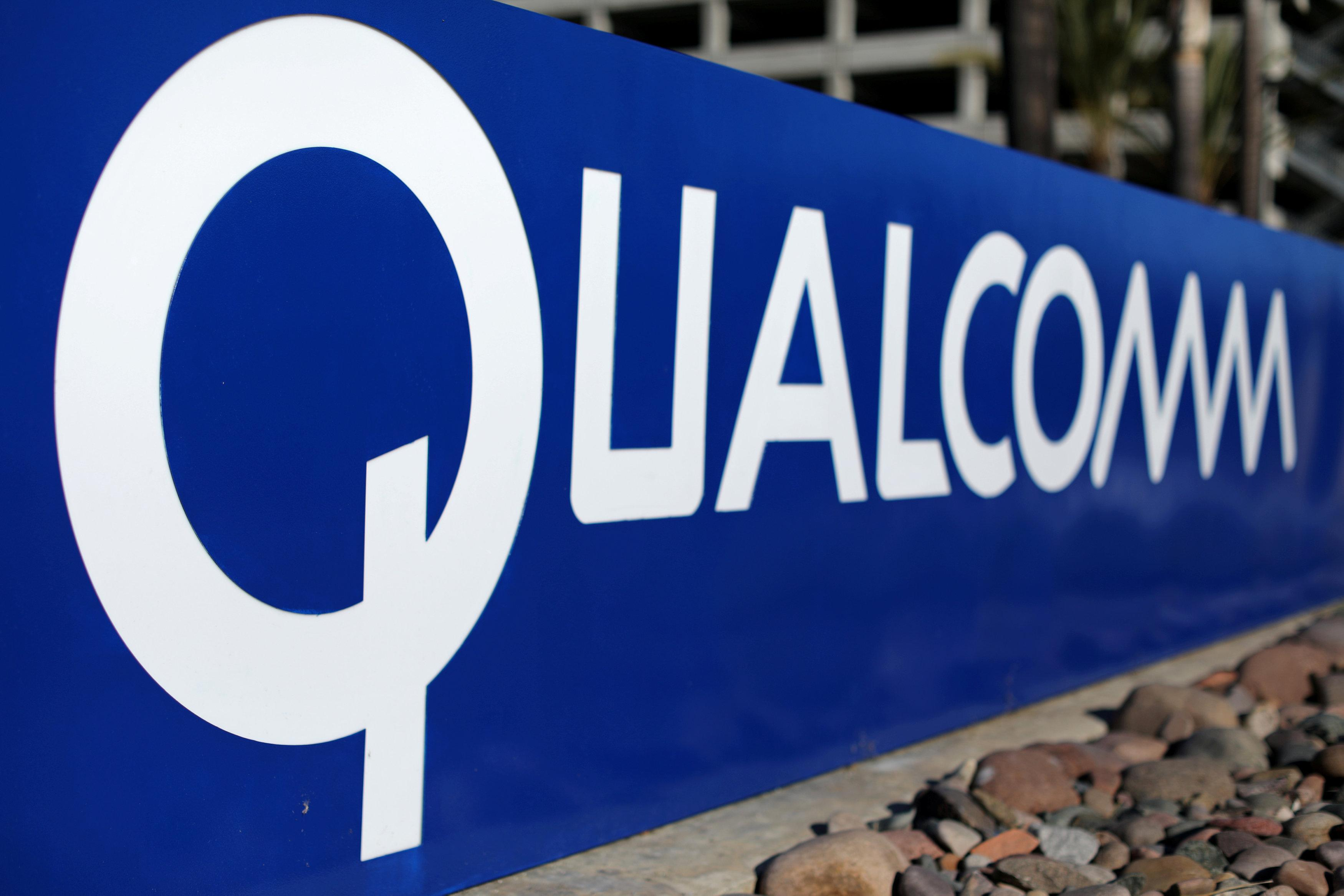 A sign on the Qualcomm campus is seen, as chip maker Broadcom Ltd announced an unsolicited bid to buy peer Qualcomm Inc for $103 billion, in San Diego, California, U.S. November 6, 2017. Mike Blake