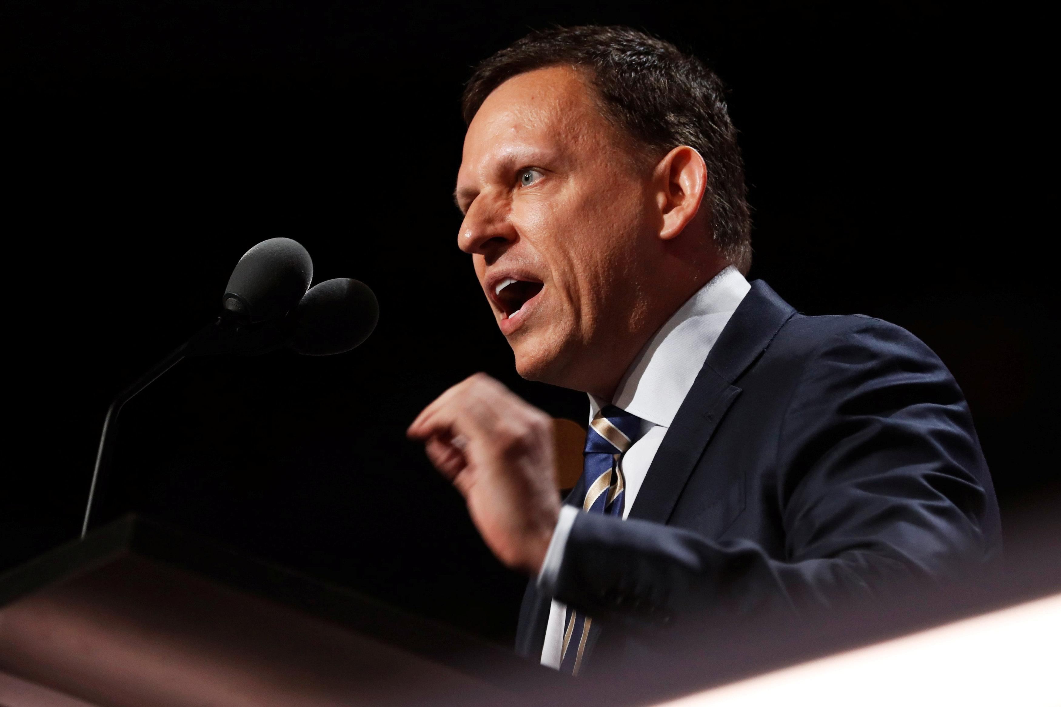 Paypal co-founder Peter Thiel speaks at the Republican National Convention in Cleveland, Ohio, U.S. July 21, 2016. Jonathan Ernst