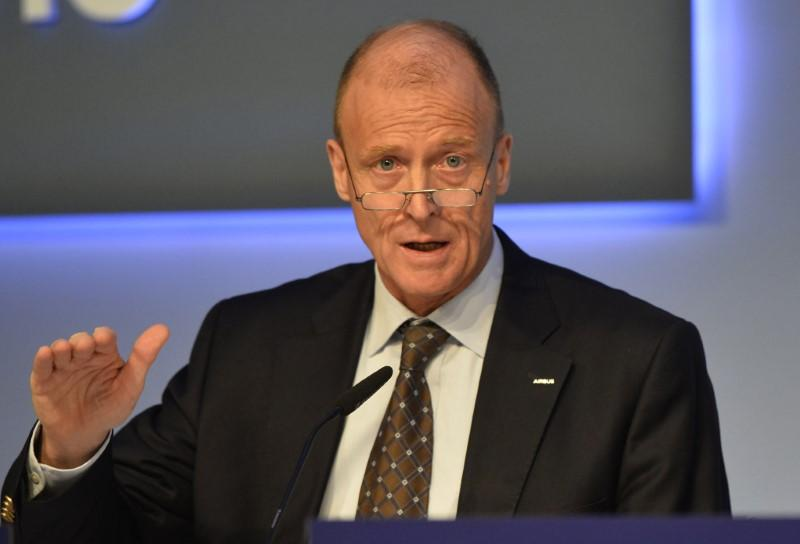 Airbus Group Chief Executive Tom Enders speaks during a news conference on the aerospace group