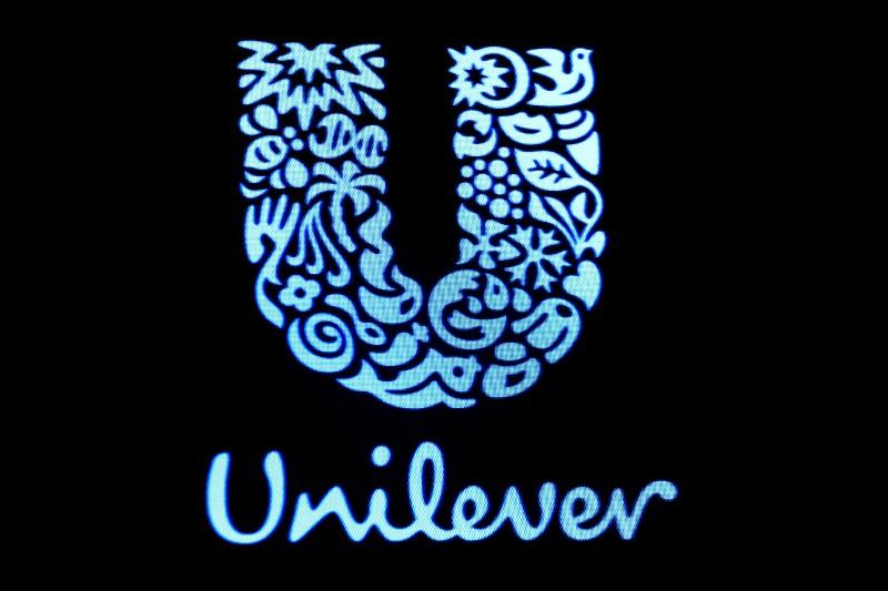 The company logo for Unilever is displayed on a screen on the floor of the New York Stock Exchange (NYSE) in New York, U.S., February 17, 2017. Brendan McDermid
