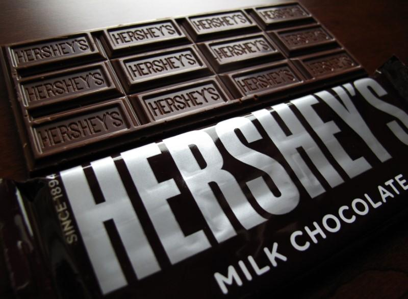 Hershey's chocolate bars are shown in this photo illustration in Encinitas, California January 29, 2015.  Mike Blake