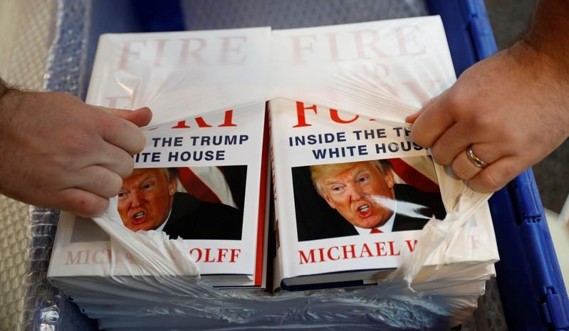 Michael Wolff's book 'Fire And Fury' on sale in Liverpool, UK, Jan. 11, 2018.  Phil Noble